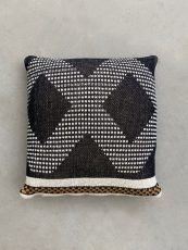 black and white knitted cushion