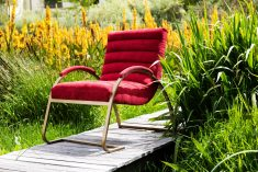Block & Chisel red corduroy upholstered occasional chair