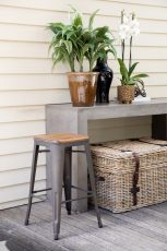 Russell Barstool - Mild steel grey black legs with wooden seating on top