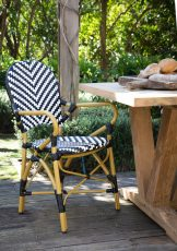 Parisian outdoor armchair with black and white stripes