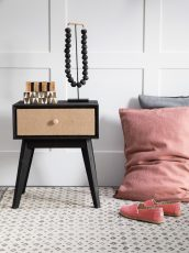 Block & Chisel black retro inspired bedside table