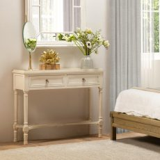 Block & Chisel wooden 2 drawer console table with antique pearl finish