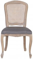 Block & Chisel grey linen upholstered dining chair with birch wood legs