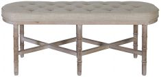 Block & Chisel linen upholstered ottoman with rubber wood legs