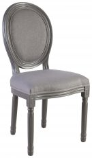 Block & Chisel grey upholstered spa back dining chair with grey rubber wood legs