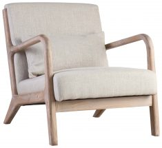 Block & Chisel beige upholstered lounge chair with wooden frame