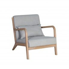 Lounge chair upholstered in taupe linen fabric with wooden arms and legs