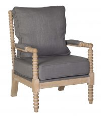 Charcoal linen lounge chair with bun detailed frame