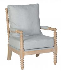 Grey cushioned bun detailing occasional chair