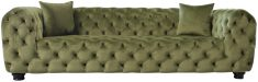 Block & Chisel green upholstered velvet button tufted 3 seater sofa with black wooden legs
