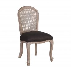 Arthur Dining Chair - with charcoal grey upholstery, french inspired wooden frame