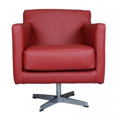 Block & Chisel red leather swivel chair