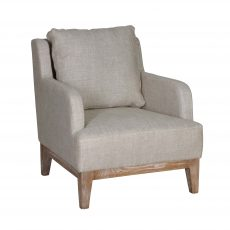 Fully upholstered linen lounge chair with loose back cushion and wooden legs.