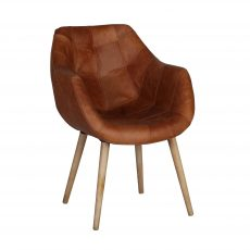 Leather tub chair with wooden tapered legs.
