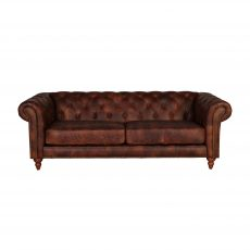 3 Seater leather sofa with deep button detail on back and arms.
