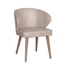 Casey rounded back dining chair in leather