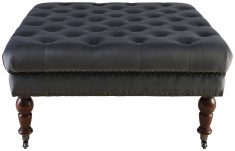 Block & Chisel square grey velvet button tufted ottoman