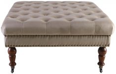 Block & Chisel square champagne velvet button tufted ottoman