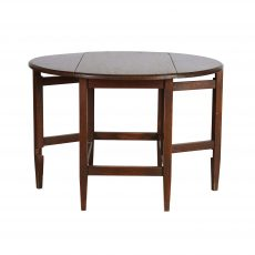 Stained oak side table with drop leaf sides