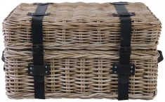 Block & Chisel grey kubu rattan basket with leather straps