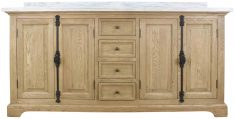 Block & Chisel oak bathroom vanity with white marble top