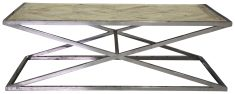 Block & Chisel rectangular parque top coffee table with steel base