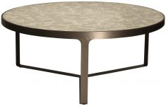Block & Chisel round stainless steel table with antique mirror top