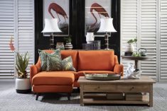 Block & Chisel orange upholstered 2 seater sofa with ottoman