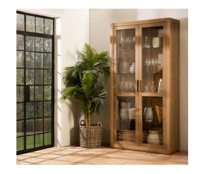 Block & Chisel brushed oak glass display