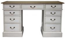 Block & Chisel weathered oak pedestal desk with antique white base
