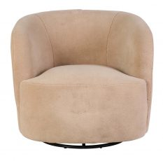 Beige swivel faux shag tub chair