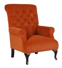 Adele Armchair - Deep tufted armchair with wooden legs in orange