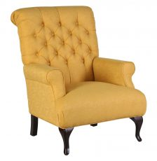 Deep tufted armchair with wooden legs in yellow