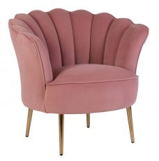 marina scalloped shape back in pink with high armrest tub chair