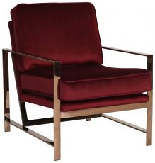 Block & Chisel red velvet upholstered occasional chair with stainless steel legs