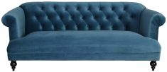 Block & Chisel blue velvet upholstered sofa with rubber wood legs