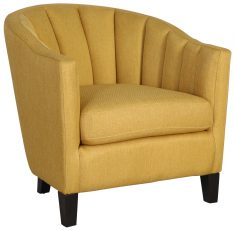 Block & Chisel yellow velvet upholstered occasional chair with rubber wood legs