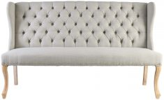 Block & Chisel natural linen upholstered sofa with rubber wood legs
