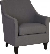 Block & Chisel charcoal linen upholstered accent chair with rubber wood legs
