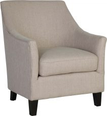 Block & Chisel natural linen upholstered accent chair with rubber wood legs