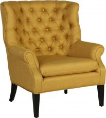 Block & Chisel cream yellow upholstered accent chair with rubber wood legs