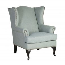 Block & Chisel natural duck egg linen upholstered wingback chair with rubber wood legs