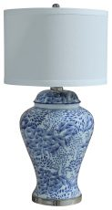 Block & Chisel ceramic and metal lamp base with white linen shade