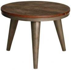 Block & Chisel round wooden coffee table with iron base