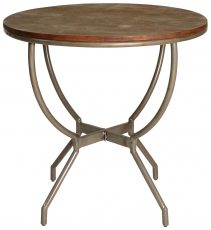 Block & Chisel round occasional table with iron base
