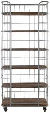 Block & Chisel bookshelf with metal frame and wooden shelves on castors