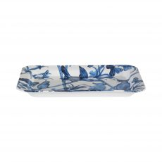 Blue and white parrot ceramic tray