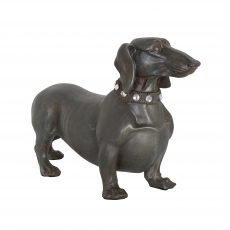 grey dachshund sausage dog with sparkling collar statue