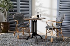 Dumont armchair in rattan and weave black and white pattern