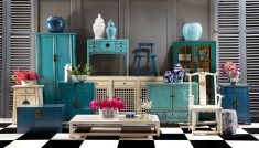 Blue lacquered chinese sideboard with drawers and doors